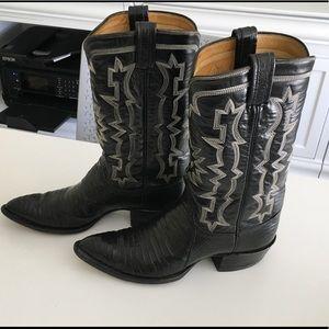 Classic Black TONY LAMA Cowboy Boots 8- 8 1/2
